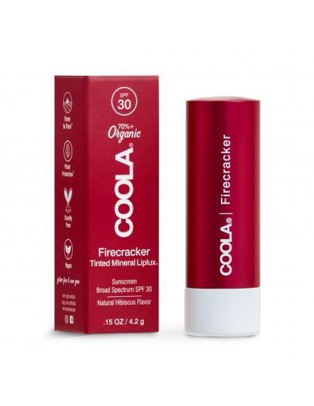 Coola Mineral Liplux Organic Tinted Lip Balm Sunscreen SPF30 - Firecracker