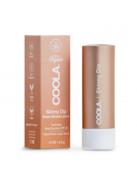 Coola Mineral Liplux Organic Tinted Lip Balm Sunscreen SPF30 - Skinny Dip